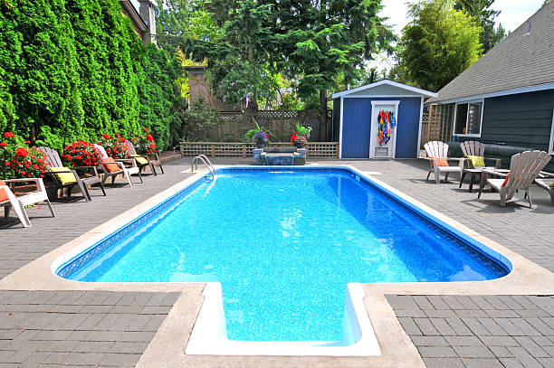 Back Yard Pool Back Yard Pool swimming pool stock pictures, royalty-free photos & images