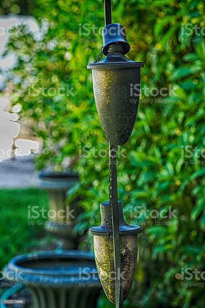 Back Yard Torches stock photo