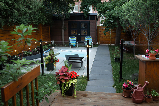 Front of back yard, swimming pool, house,  small