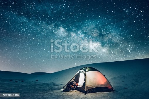 Camping tent under the milky way at White Sands National Monument in New Mexico.