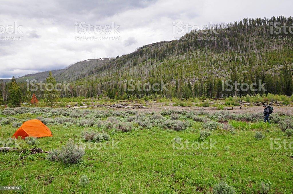 Backcountry Camping.  Yelowstone National Park, Wyoming royalty-free stock photo