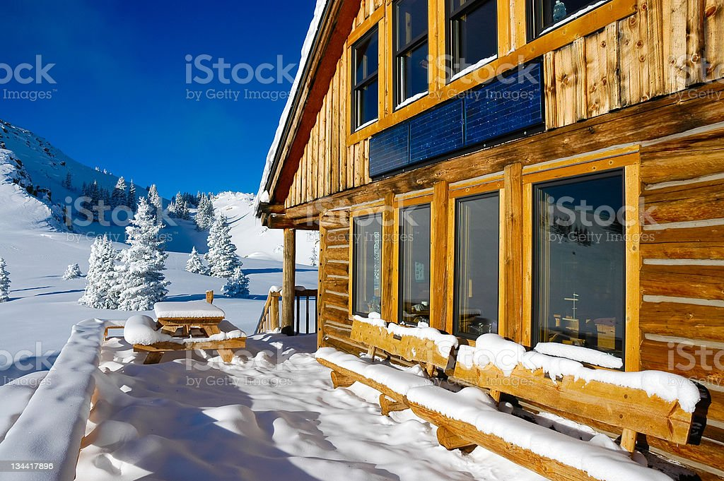 Backcountry Hut Rocky Mountains Colorado in Winter royalty-free stock photo