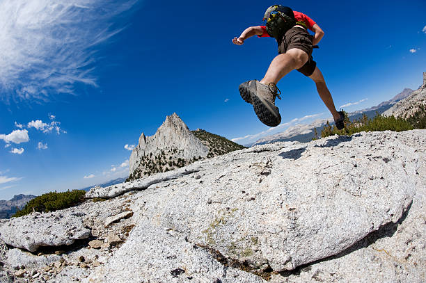 Back-country running stock photo