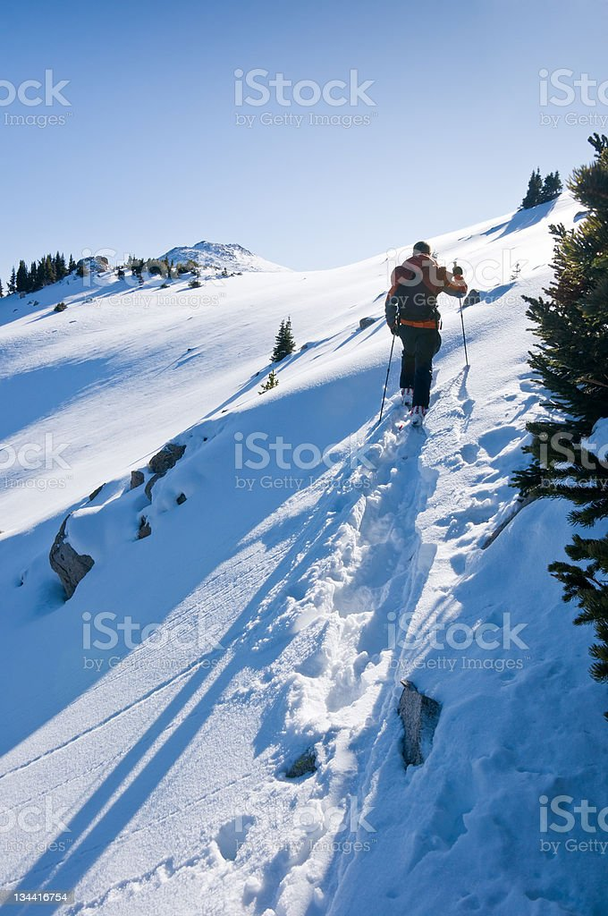 Backcountry Skier Skinning in Winter Mountain Environment royalty-free stock photo