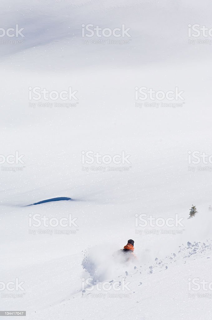 Backcountry Skier Skis Powder in the Colorado Rocky Mountains royalty-free stock photo