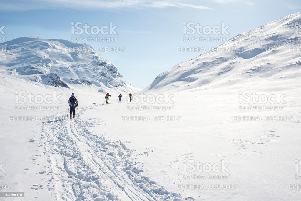 Backcountry skiers in Jotunheimen National Park stock photo