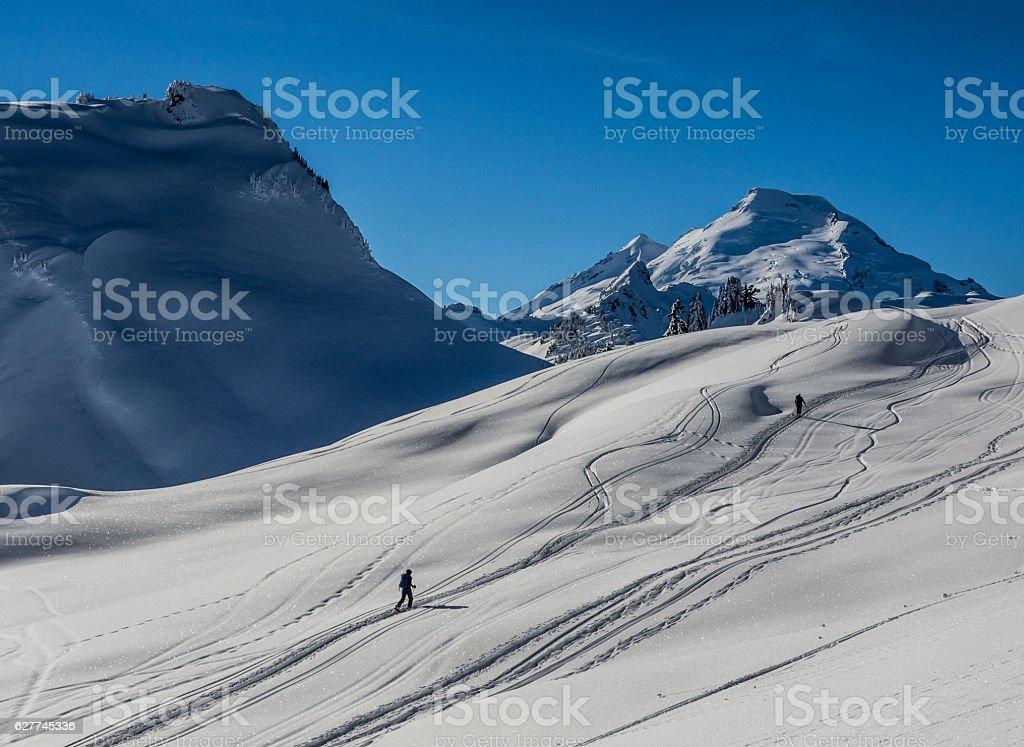 Backcountry skiers stock photo