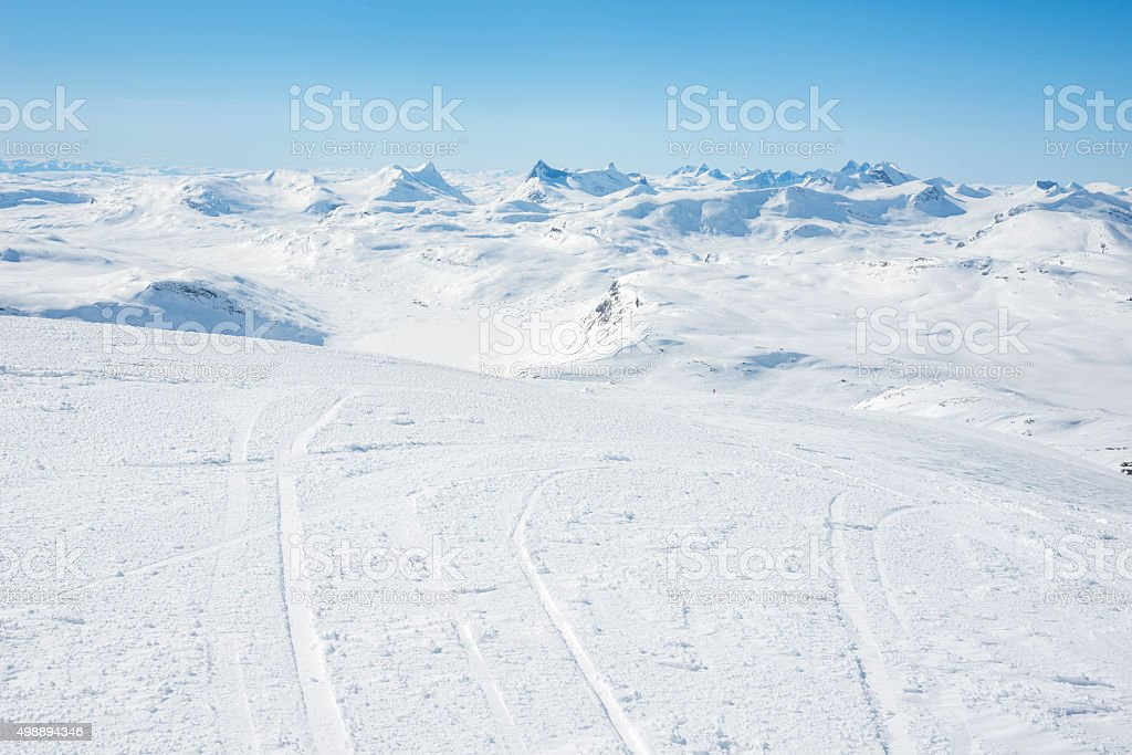 Backcountry skier's view of Jotunheimen National Park stock photo
