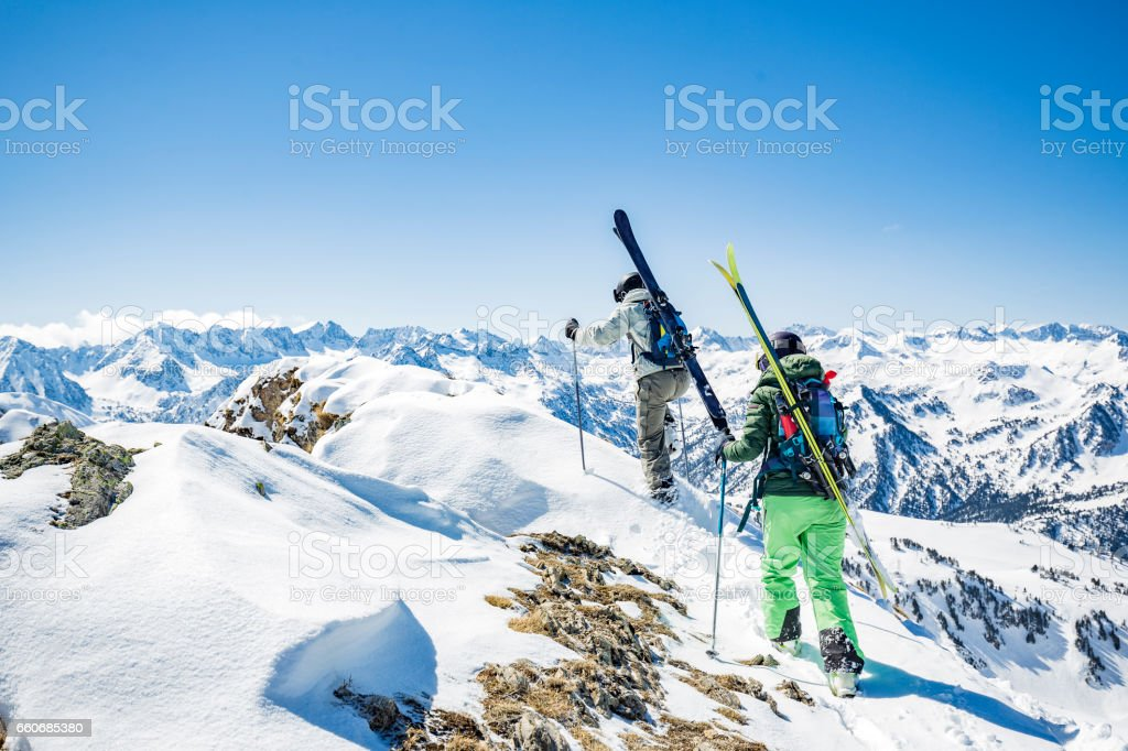 Backcountry skiing in the Pyrenees stock photo