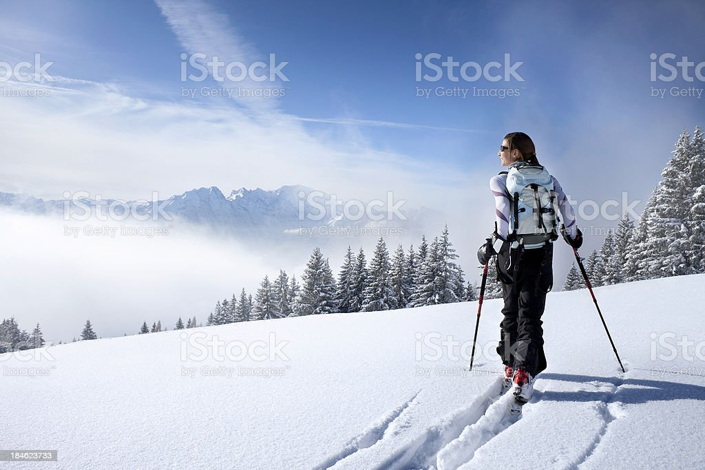 Backcountry skiing in the winter Wonderland royalty-free stock photo