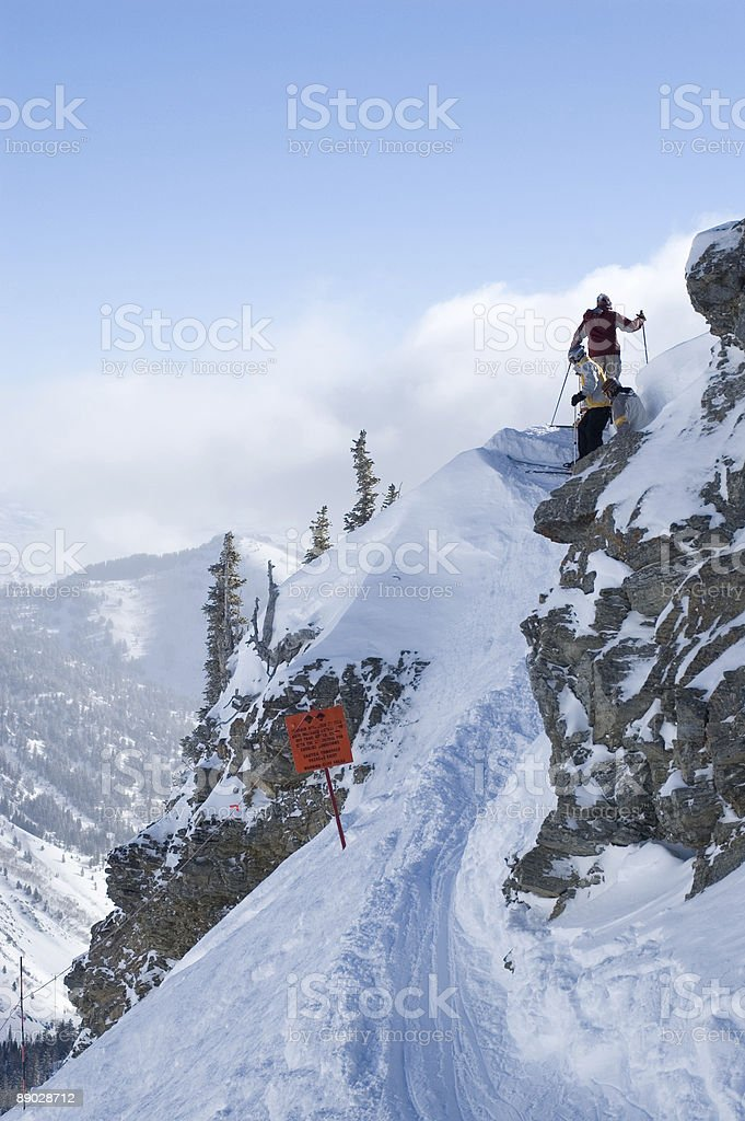 Backcountry skiing trail access royalty-free stock photo