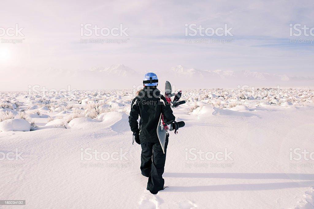 Backcountry Snowboader stock photo