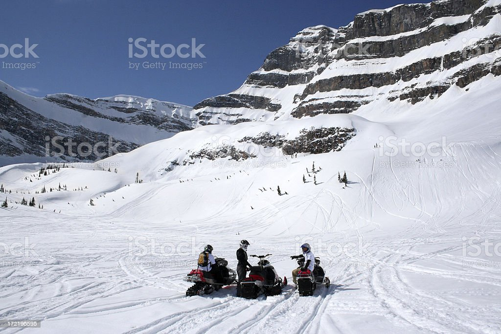 Backcountry Snowmobiling royalty-free stock photo