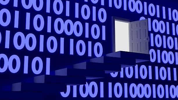 Backdoor in a binary wall concept stock photo