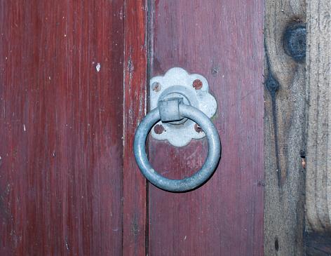 backdoor yard metal locker hanger knocker steel wooden fence gate