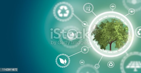 The power of green energy. Concept of renewable energies