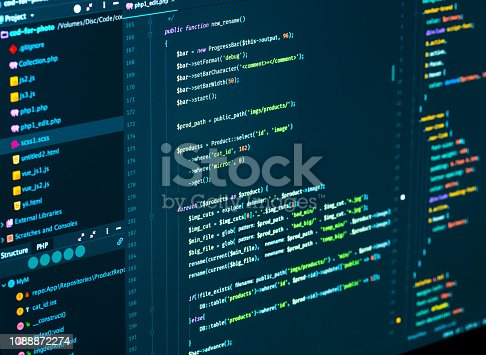 Software development. Software source code. Programming php code in code editor, close up