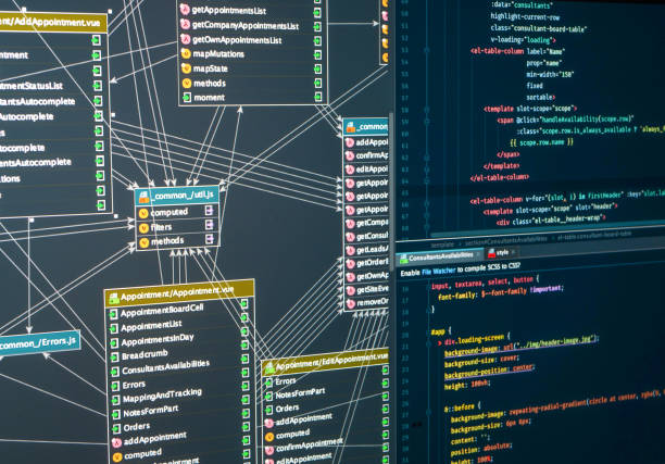 Back-end project architecture development. Database Development Planning stock photo