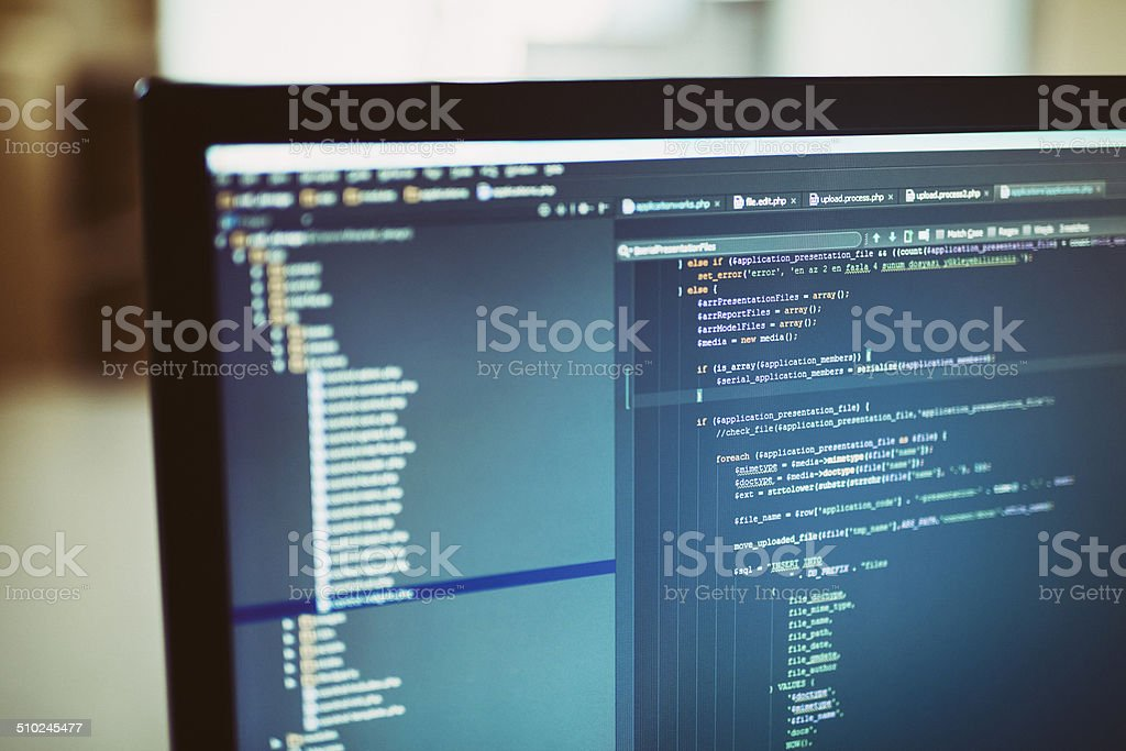 backend sourcecodes on computer monitor stock photo