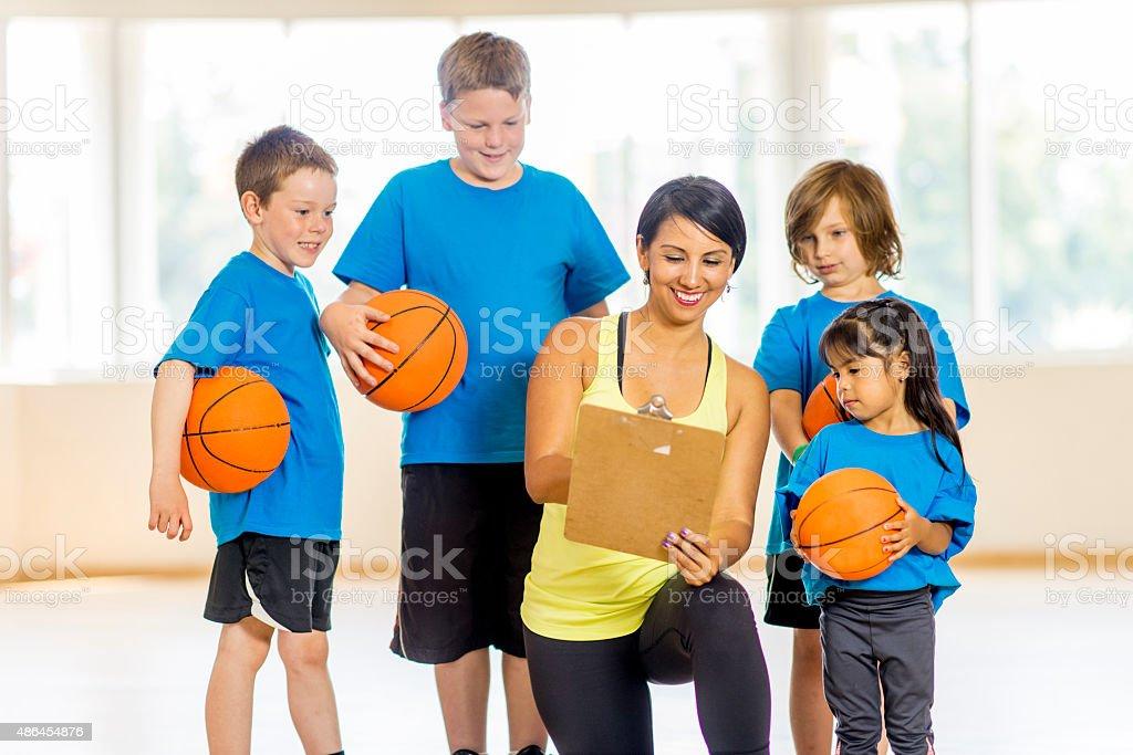 Backetball Team Huddle stock photo