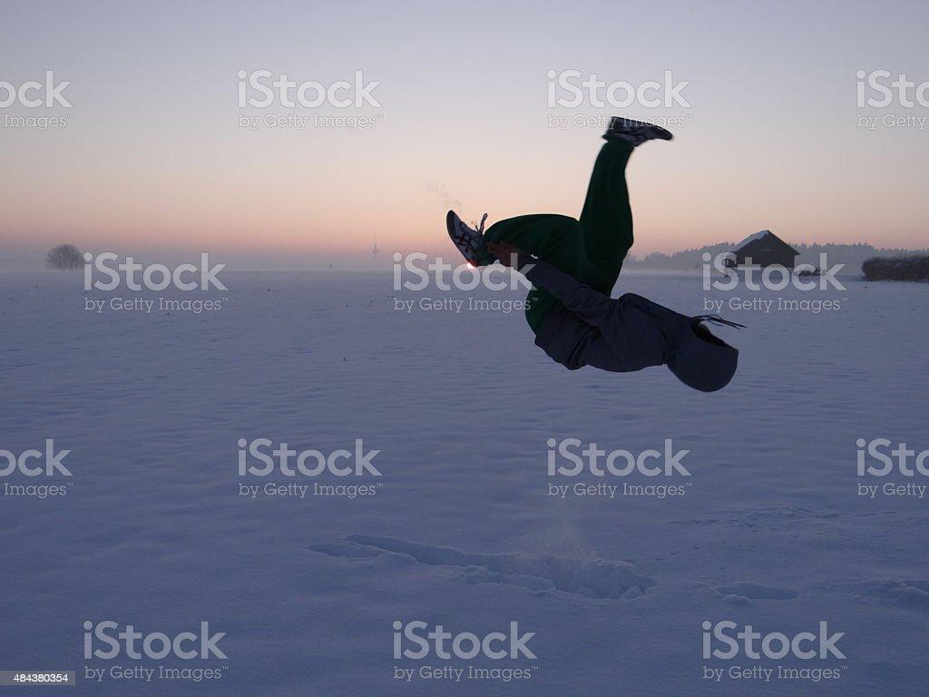 Backflip in a winter landscape stock photo