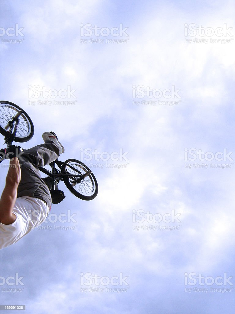 BMX Backflip in the sky royalty-free stock photo