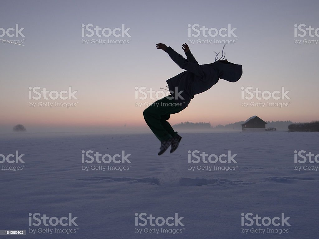 Backflip in the snow stock photo