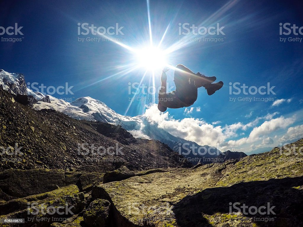 Backflip with Mont Blanc as backdrop stock photo