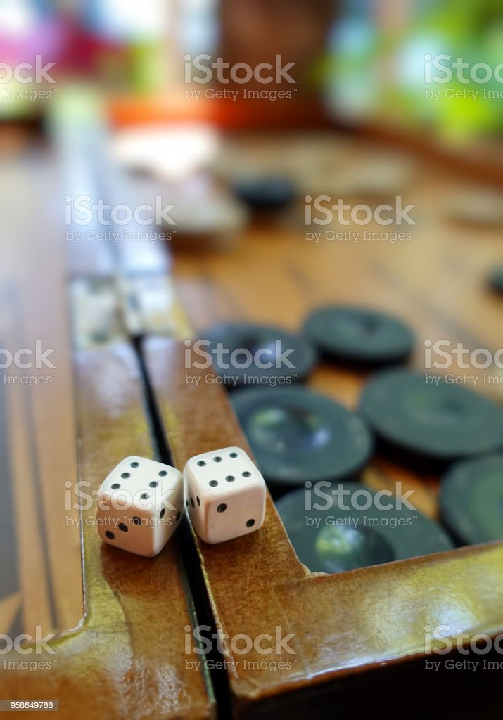 Backgammon and Dices stock photo