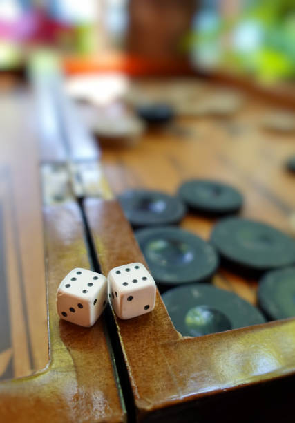backgammon and dices - backgammon stock pictures, royalty-free photos & images