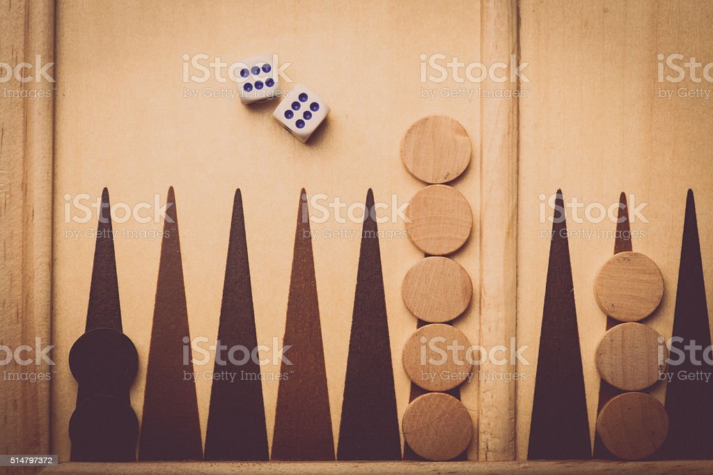Backgammon board and dice stock photo