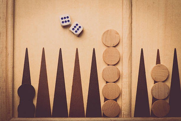 backgammon board and dice - backgammon stock pictures, royalty-free photos & images