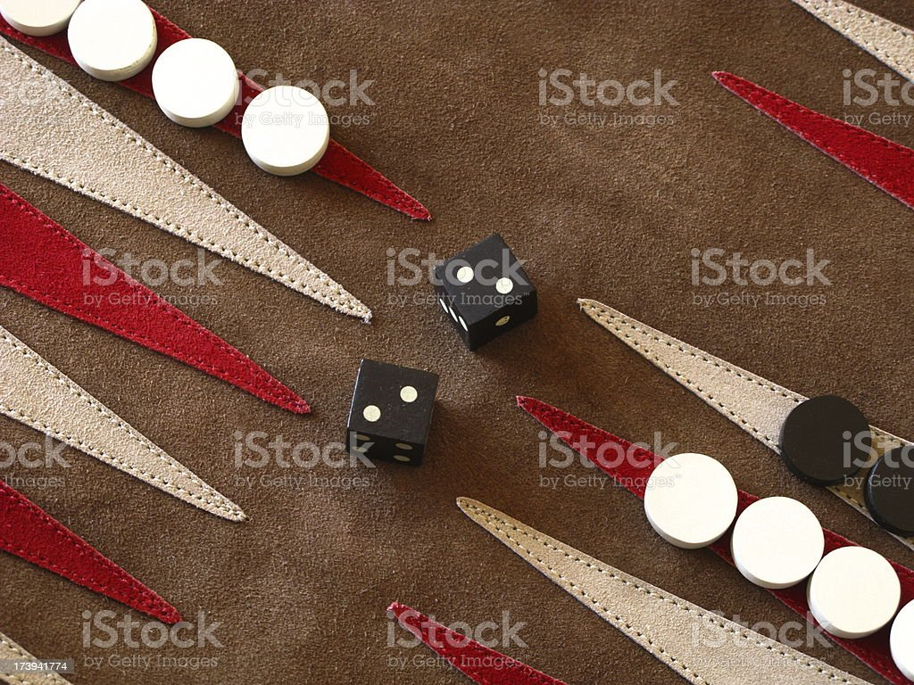 Backgammon Board Game Dice Close Up royalty-free stock photo