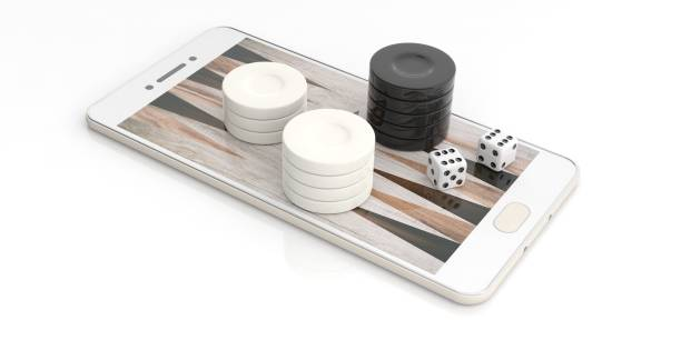 backgammon chips on a smartphone. 3d illustration - backgammon stock pictures, royalty-free photos & images