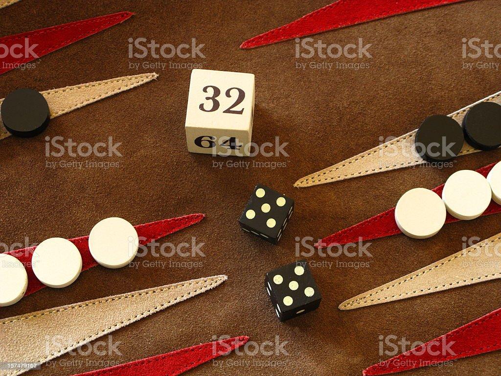 Backgammon Game Board Dice Double Cube stock photo