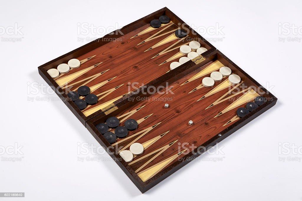 backgammon opened isolated on white background stock photo