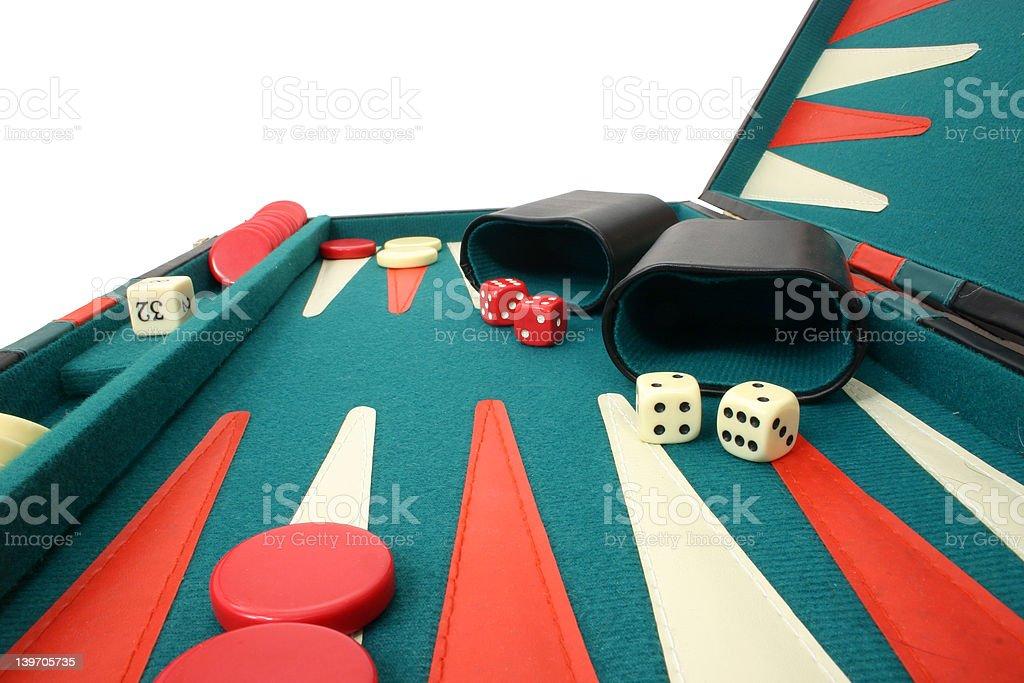 Backgammon Over White royalty-free stock photo