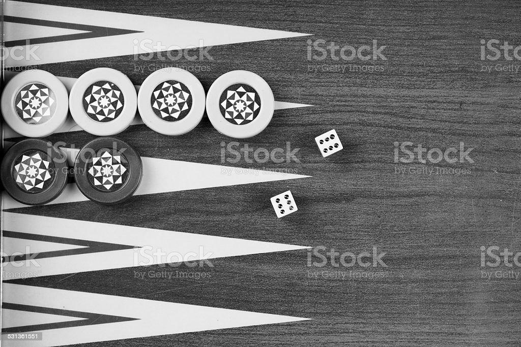 Backgammon table Turkish tavla and double six dice closeup stock photo