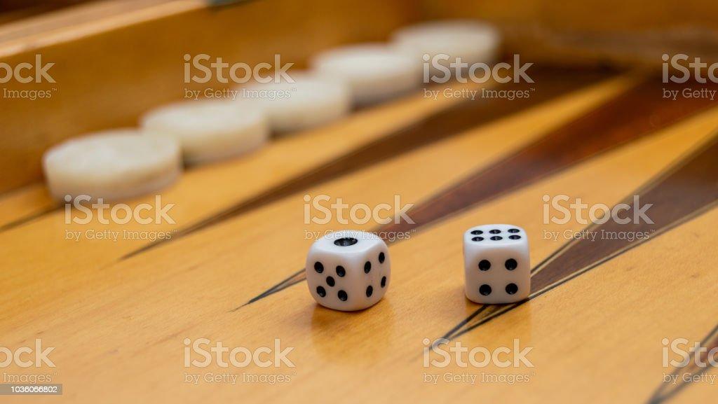 Backgammon white dice stock photo
