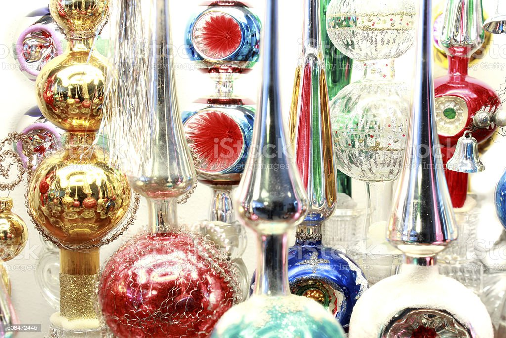 Backgrond Of Vintage Antique Christmas Tree Topper Ornaments Stock