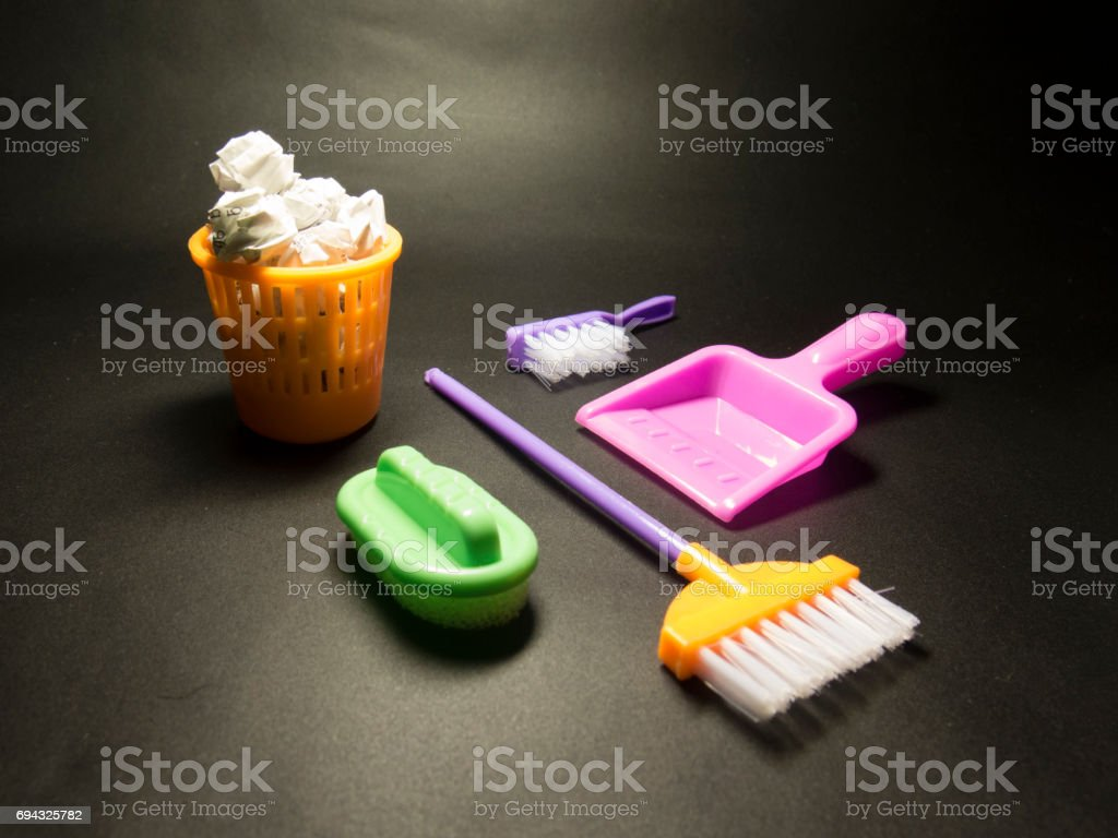 Background about cleaning the toy with brushes, sponges stock photo