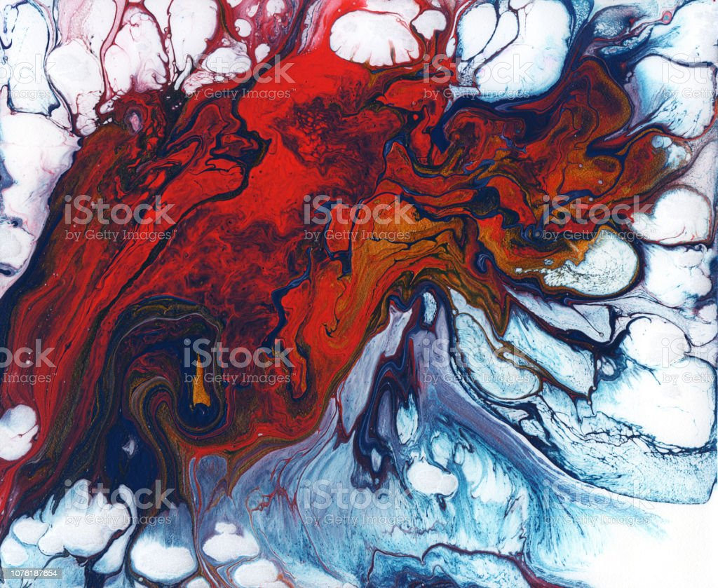 Background. Abstract illustrations of liquid colored acrylic. Red,...
