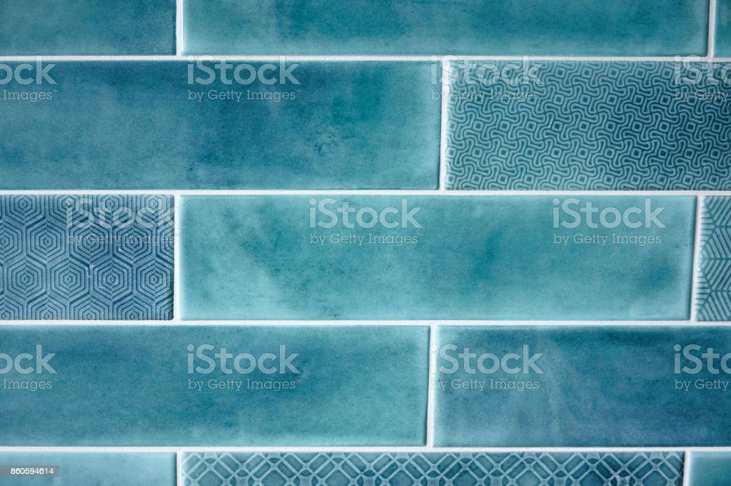 Background and texture blue rectangular tiles stock photo
