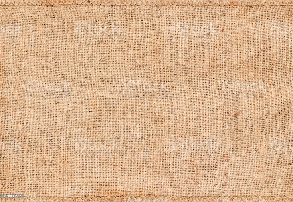 Background and texture of natural brown Sackcloth with Stitches Seam. stock photo