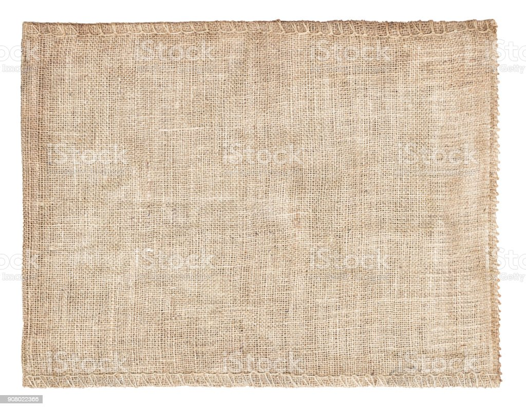 Background and texture of natural brown Sackcloth with Stitches Seam isolated on white background and with clipping path. stock photo