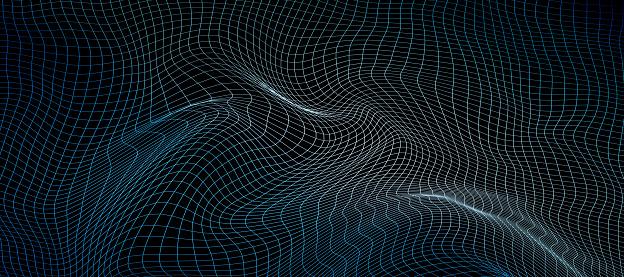 Wide futuristic wireframe warped mesh on black background. 3d illustration.