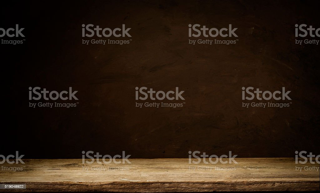 background barrel and worn old table of wood stock photo