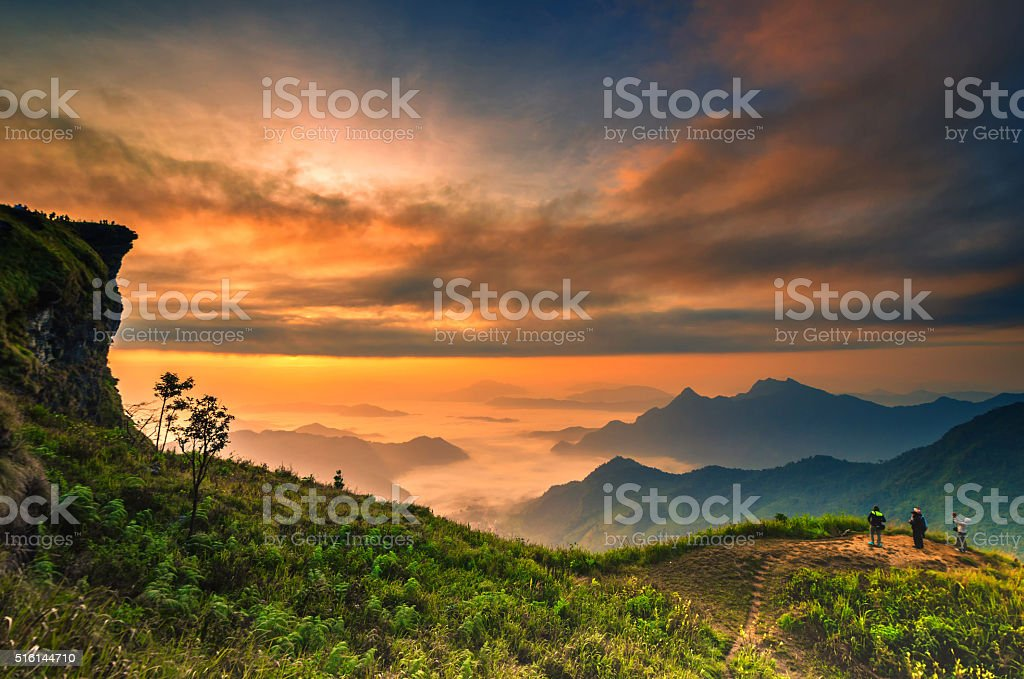 Background blur sea fog on the mountain with the sky stock photo