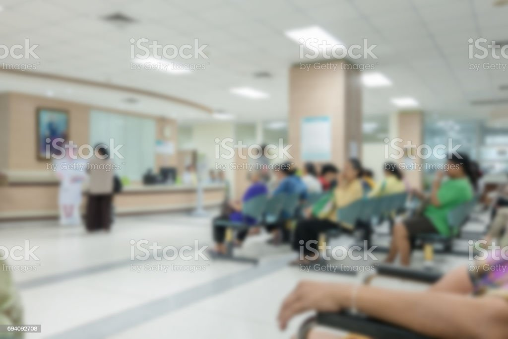 Background blur the number of patients waiting for treatment in hospital stock photo