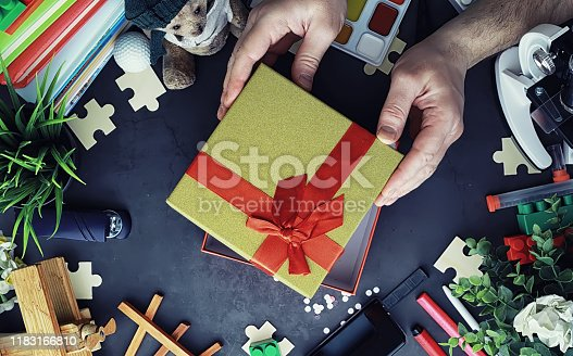 istock Background. Children's toys on the table. Space between kid's toys. 1183166810